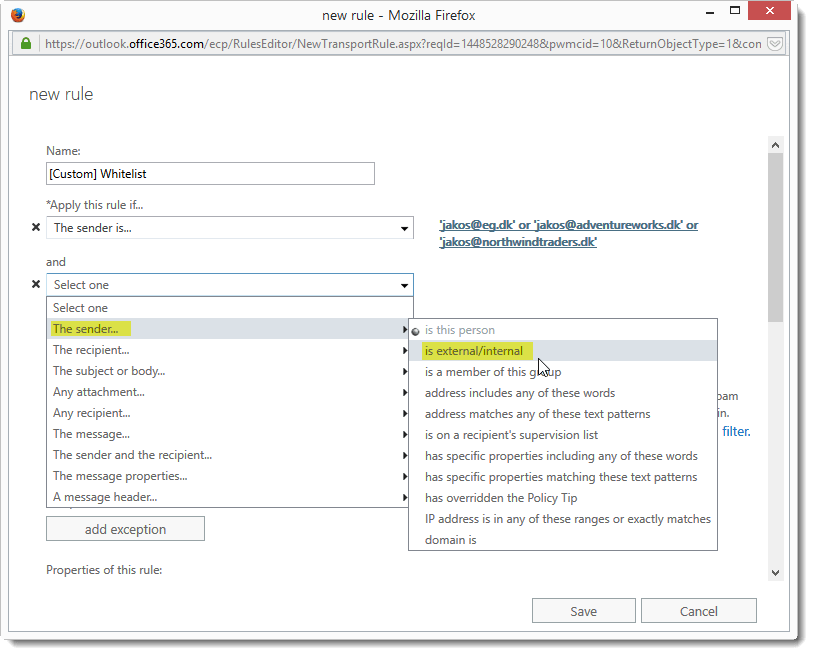 Whitelist addresses in Exchange Online Protection (EOP